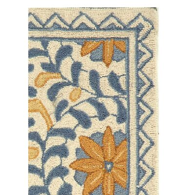 Helena Floral Handmade Wool Ivory/Blue Area Rug Rug Size: Rectangle 18 x 26