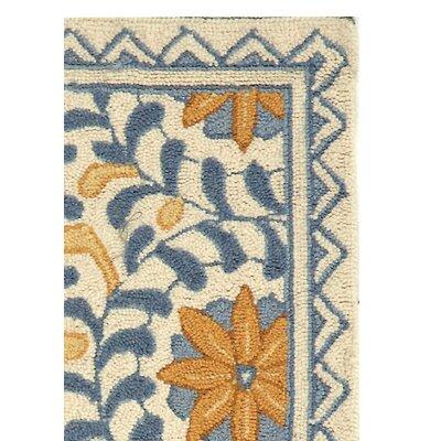 Helena Floral Handmade Wool Ivory/Blue Area Rug Rug Size: Rectangle 18 x 26