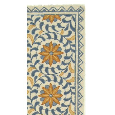 Helena Floral Handmade Wool Ivory/Blue Area Rug Rug Size: Runner 26 x 8