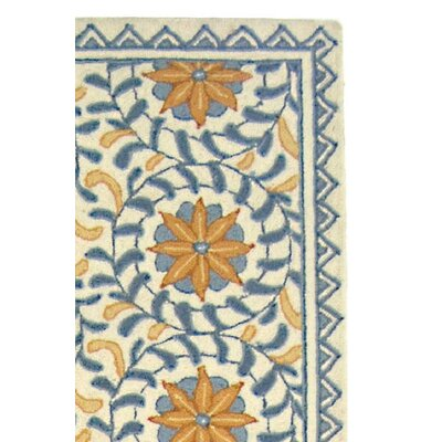 Helena Floral Handmade Wool Ivory/Blue Area Rug Rug Size: Runner 26 x 12
