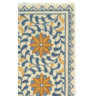 Helena Floral Handmade Wool Ivory/Blue Area Rug Rug Size: Rectangle 26 x 4