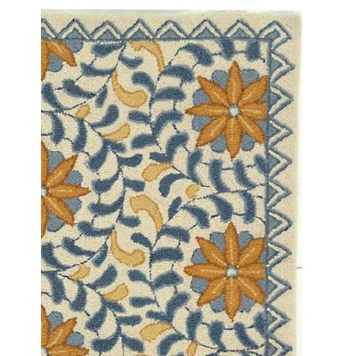 Helena Floral Handmade Wool Ivory/Blue Area Rug Rug Size: Rectangle 29 x 49