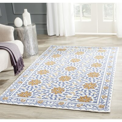 Helena Floral Handmade Wool Ivory/Blue Area Rug Rug Size: Rectangle 39 x 59