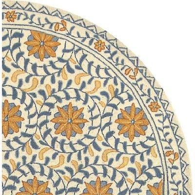 Helena Floral Handmade Wool Ivory/Blue Area Rug Rug Size: Round 3