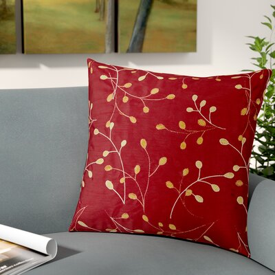 Selby Throw Pillow Size: 22 x 22, Color: Red, Fill: Down