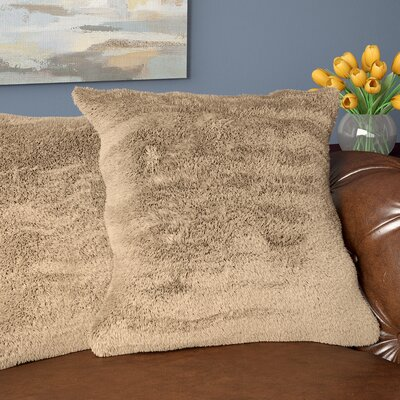 Carraton Faux Fur Throw Pillow Color: Tan