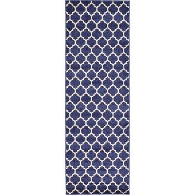 Coughlan Blue/Ivory Area Rug Rug Size: Runner 27 x 8