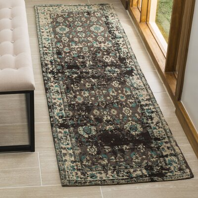 Albion Green/Beige Area Rug Rug Size: Runner 23 x 8