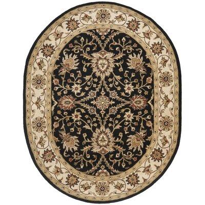 Dunbar Hand-Woven Wool Black Area Rug Rug Size: Oval 76 x 96