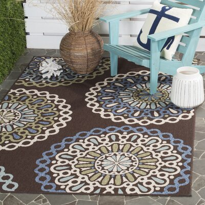 Leonard Blue/Chocolate Indoor/Outdoor Area Rug Rug Size: Rectangle 67 x 96