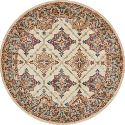 Applewood Cream Area Rug Rug Size: Round 8