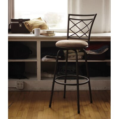 Gettysburg Adjustable Height Swivel Bar Stool Base Color: Black, Upholstery: Suede - Brown