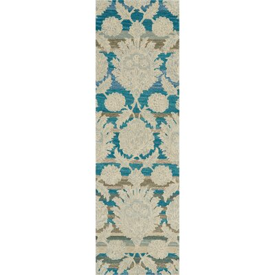 Cortese Hand Tufted Wool Ivory/Teal Area Rug Rug Size: Runner 23 x 76
