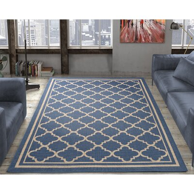 Chapman Blue Trellis Indoor/Outdoor Area Rug Rug Size: 53 x 73
