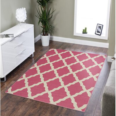 Staunton Machine Woven Hot Pink Area Rug Rug Size: Rectangle 5 x 66