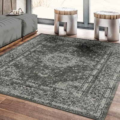 Lamberth Distressed Medallion Gray Area Rug Rug Size: 5 3 x 7