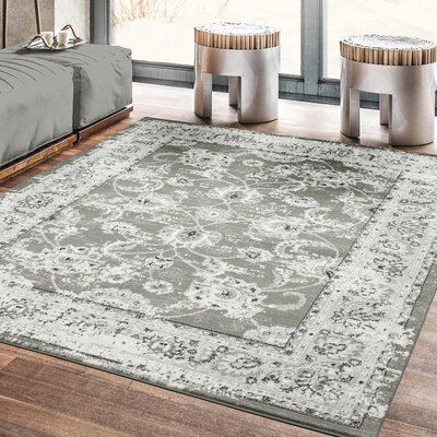 Lamberth Distressed Floral Gray Area Rug Rug Size: 5 3 x 7