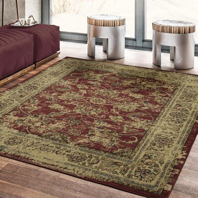 Lamberth Distressed Floral Red/Yellow Area Rug Rug Size: 5 3 x 7