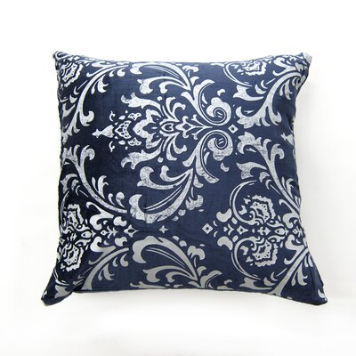 Meriwether Damask Pillow Cover Color: Navy