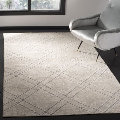 Bradenton Hand-Knotted Khaki/Gray Area Rug Rug Size: Rectangle 5 x 8