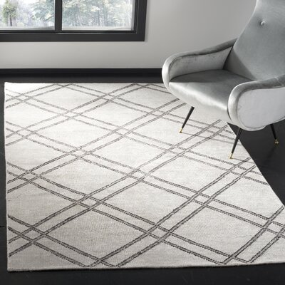 Bradenton Hand-Knotted Steel Gray Area Rug Rug Size: Rectangle 5 x 8