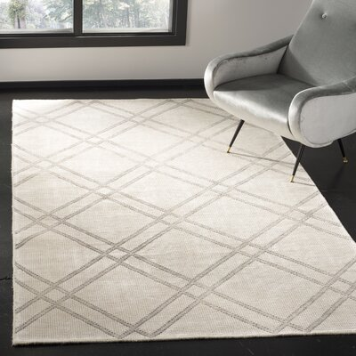 Bradenton Hand-Knotted Dove/Ivory Area Rug Rug Size: Rectangle 5 x 8