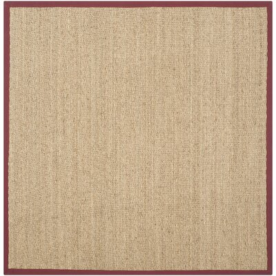Eldert Natural Fiber Hand-Woven Brown/Tan/Red Area Rug Rug Size: Square 6