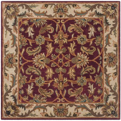 Cranmore Red/Ivory Floral Area Rug Rug Size: Square 4