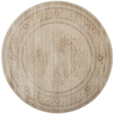 Frith Creme Area Rug Rug Size: Round 6