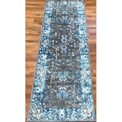 Hatfield Blue Area Rug Rug Size: Runner 27 x 76
