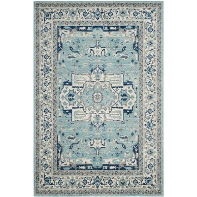 Driffield Turquoise / Ivory Area Rug Rug Size: Rectangle 51 x 76