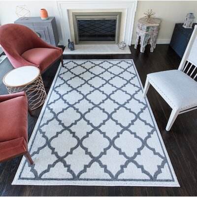 Bellefonte Gray/White Area Rug Rug Size: 8 x 10