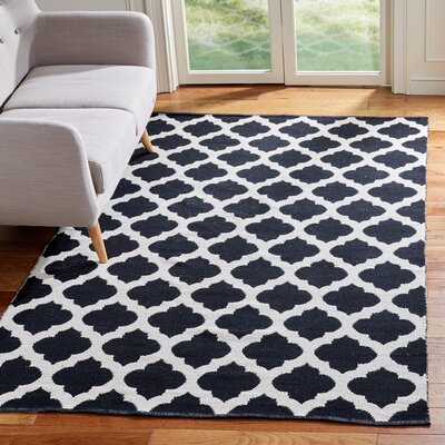 Willow Hand-Woven Black/Ivory Area Rug Rug Size: Rectangle 5 x 8