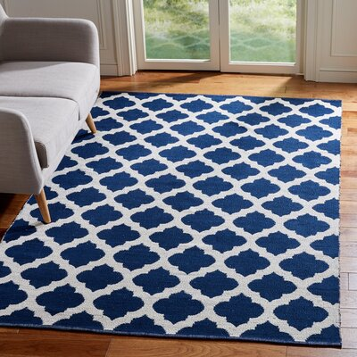 Willow Hand-Woven Navy/Ivory Area Rug Rug Size: Rectangle 5 x 8