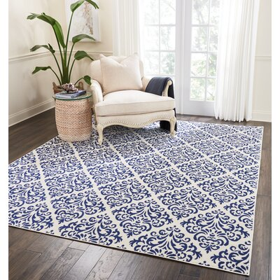 Bolivia White/Blue Area Rug Rug Size: Rectangle�53 x 73