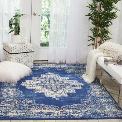 Susan Navy Blue Area Rug Rug Size: Rectangle�53 x 73