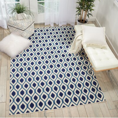 Susan White/Navy Area Rug Rug Size: Rectangle�53 x 73