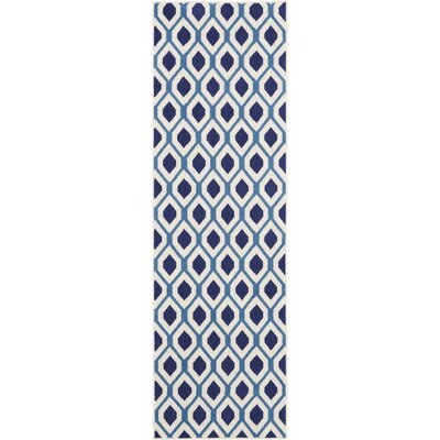Susan White/Navy Area Rug Rug Size: Runner 23 x 76