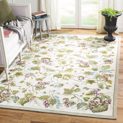 Olson Hand-Hooked White Area Rug Rug Size: Rectangle 6 x 9