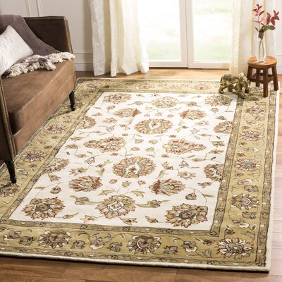 Cloverdale Hand-Hooked Ivory/Beige Area Rug Rug Size: Rectangle 2 x 3