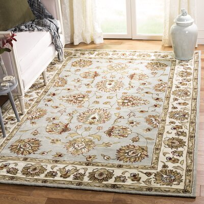 Cloverdale Hand-Hooked Ivory/Gray Area Rug Rug Size: Rectangle 9 x 12