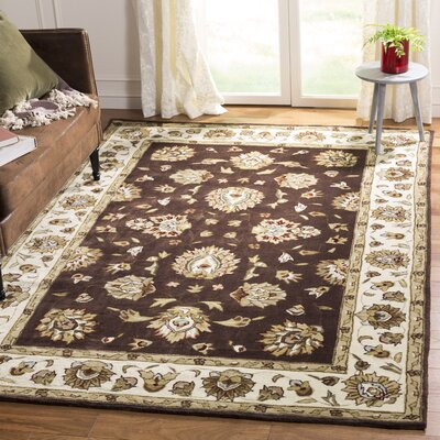 Cloverdale Hand-Hooked Brown/Ivory Area Rug Rug Size: Rectangle 6 x 9