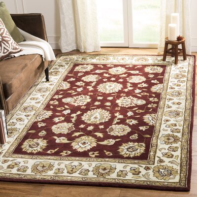 Cloverdale Hand-Hooked Burgundy Area Rug Rug Size: Rectangle 4 x 6
