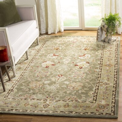 Angus Hand-Hooked Sage/Beige Area Rug Rug Size: Rectangle 6 x 9
