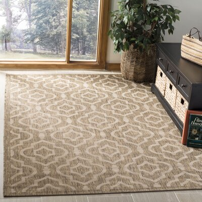 Octavius Brown/Bone Indoor/Outdoor Area Rug Rug Size: Rectangle 53 x 77