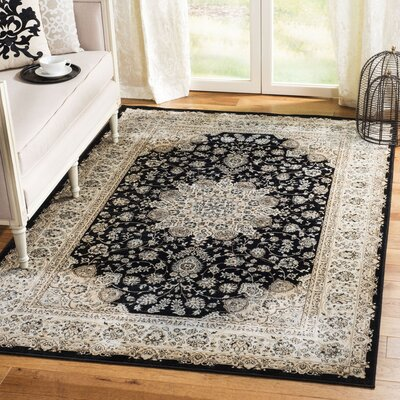 Petronella Black & Ivory Area Rug Rug Size: Rectangle 51 x 77