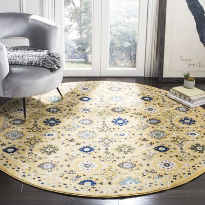 Pike Gold / Ivory Area Rug Rug Size: Round 7'