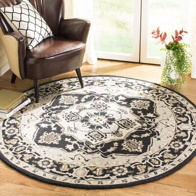 Amice Hand-Hooked Black/Natural Area Rug Rug Size: Round 5 6
