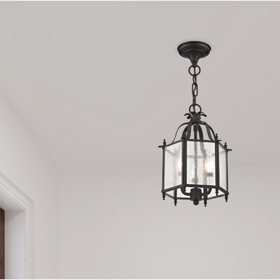Lauritsen 2-Light Glass Convertible Foyer Pendant Finish: Bronze