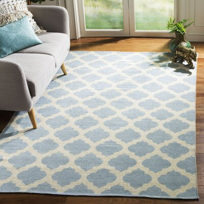 Willow Hand-Woven Light Blue/Ivory Area Rug Rug Size: Rectangle 5 x 8